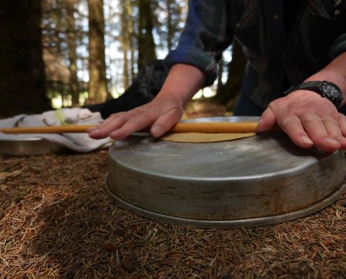 Rolling out the dough for gözleme