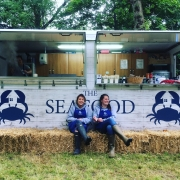 Jane Grigson Trust Award winners Kirsty Scobie & Fenella Renwick outside The Seafood Shack