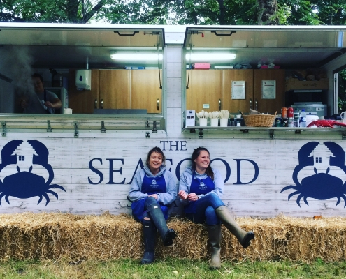 Jane Grigson Trust Award winners Kirsty Scobie & Fenella Renwick outside The Seafood Shack