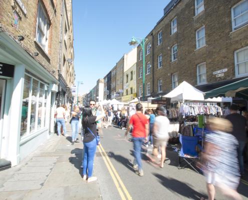 Street view of Brick Lane Market