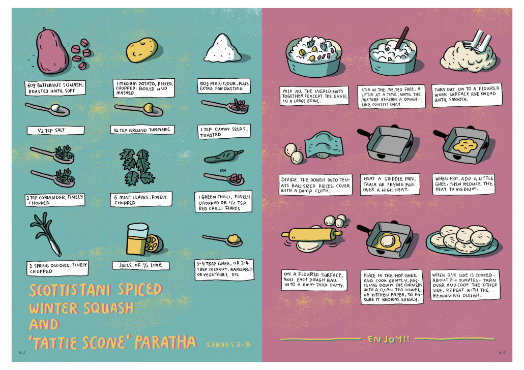 cartoon recipe for Scottishstani Spiced Winter Squash and Tattic Scone Paratha by Sumayya Usmani
